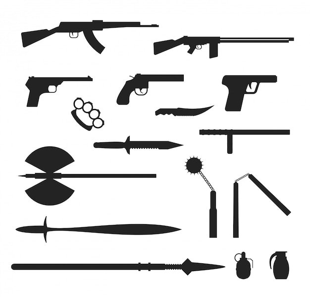 Weapons flat  collection isolated on white background