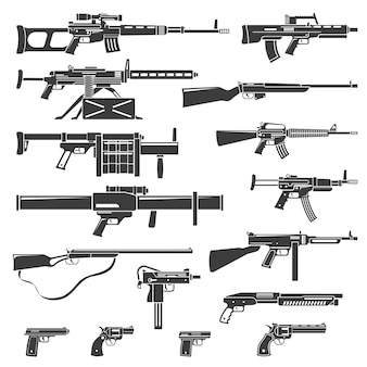 Weapons and guns monochrome set Free Vector