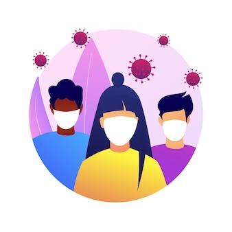マスクの抽象的な概念のイラストを着用してください。ウイルス拡散防止策、社会的距離、曝露リスク、コロナウイルスの症状、個人の保護、感染の恐れ。