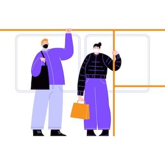 公共交通機関でマスクを着用してください