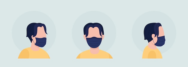 Wear fabric black mask semi flat color vector character avatar set. portrait with respirator from front and side view. isolated modern cartoon style illustration for graphic design and animation pack