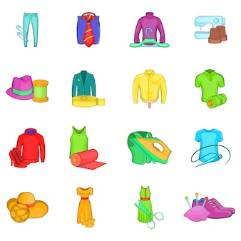 Wear icons set, cartoon style