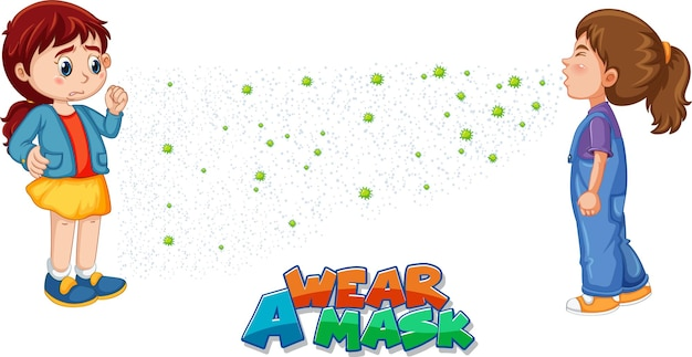 Wear a mask font in cartoon style with a girl look at her friend sneezing isolated on white background
