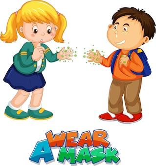 Indossa un carattere maschera in stile cartone animato con due bambini non mantieni la distanza sociale isolata su sfondo bianco