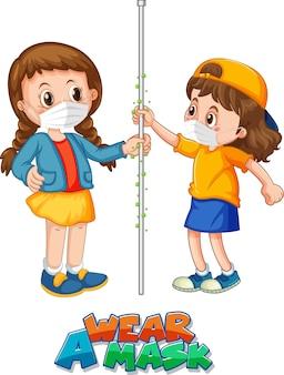 Indossa un carattere maschera in stile cartone animato con due bambini non mantieni la distanza sociale isolata su bianco