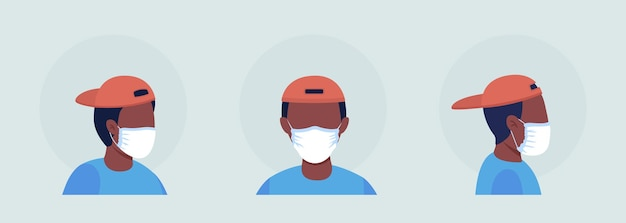 Wear mask without folds semi flat color vector character avatar set. portrait with respirator from front and side view. isolated modern cartoon style illustration for graphic design and animation pack