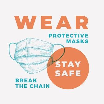 Wear protective masks stay safe banner
