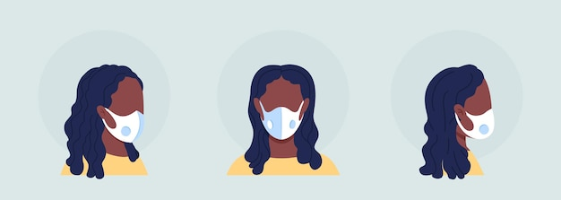 호흡 밸브가 있는 마스크 착용 세미 플랫 컬러 캐릭터 아바타 세트