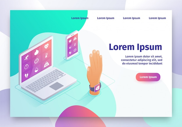 Wearable digital device isometric vector website