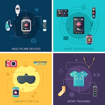 Квадратные иконки плоских значков носимых технических гаджетов с очками дополненной реальности и фитнес-трекером
