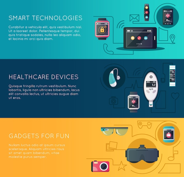 Wearable technology gadgets banners set with augmented reality glasses and fitness
