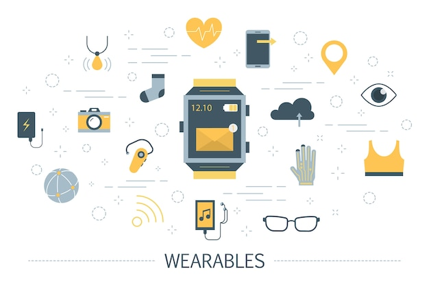 Wearable technology for a healthcare and communication illustration