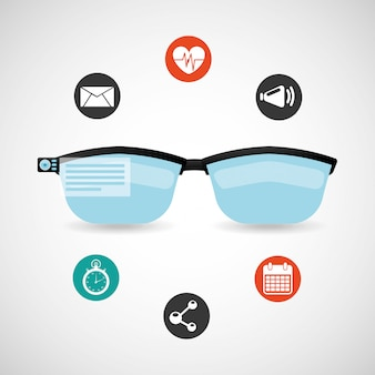 Wearable technology icon set with glasses