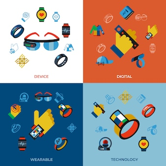 Wearable technology icons set
