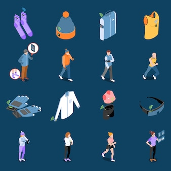 Wearable technology and smart clothes isometric set