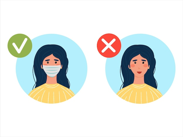 마스크 착용은 필수입니다. 마스크는 허용되지 않습니다. 의료용 마스크가 있거나 없는 갈색 머리. 평면 스타일의 벡터 일러스트 레이 션