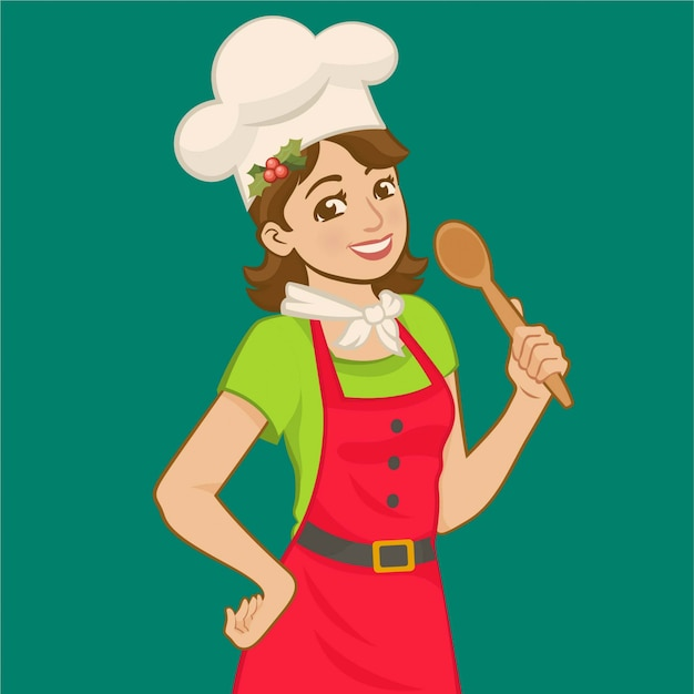 Wearing apron and chefs hat and holding a wooden spoon.