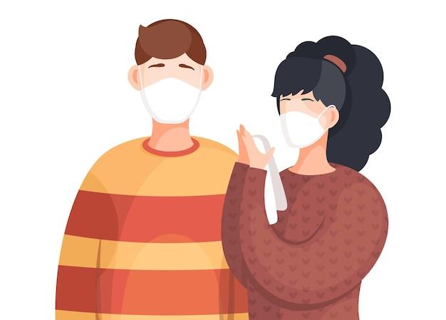 Wearing face medical masks, viral pandemia