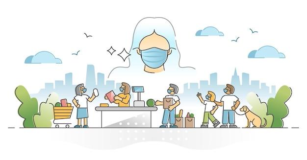 Ношение лицевых масок в качестве респиратора для защиты здоровья от концепции контура пандемии