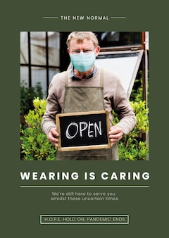 Wearing is caring template vector senior man wearing a mask in covid19 pandemic
