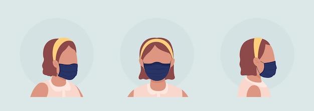 プリーツマスクセミフラットカラーベクトル文字アバターセットを身に着けています。正面図と側面図からの呼吸器付きの肖像画。グラフィックデザインとアニメーションパックの分離されたモダンな漫画スタイルのイラスト