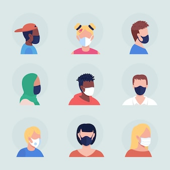 保護マスクを身に着けているセミフラットカラーベクトル文字アバターセット。正面図と側面図からの呼吸器付きの肖像画。グラフィックデザインとアニメーションパックの分離されたモダンな漫画スタイルのイラスト