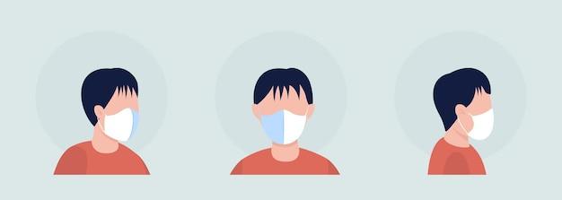 薄い白いマスクセミフラットカラーベクトル文字アバターセットを身に着けています。正面図と側面図からの呼吸器付きの肖像画。グラフィックデザインとアニメーションパックの分離されたモダンな漫画スタイルのイラスト