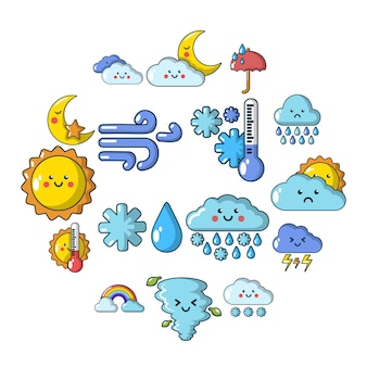 Weater icons set, cartoon style