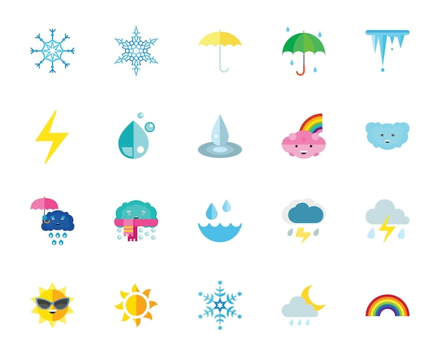 날씨와 기후 아이콘 세트