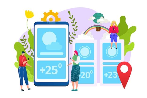 天気アプリ、予報webウィジェットアプリケーションテンプレート、イラスト。太陽、雲、気温、地理的位置の天気アイコンを備えたモバイルインターフェイス。気象レイアウト。