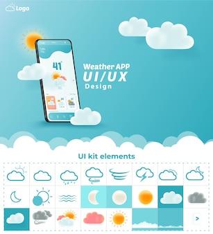 Weather app uiux kit elements website landing page