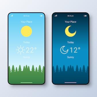 天気アプリのユーザーインターフェイス