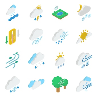 Weather and atmosphere isometric icons