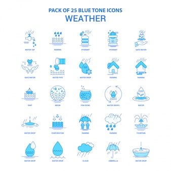 Weather blue tone icon pack