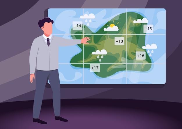 Weather broadcast flat color illustration
