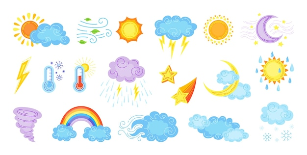 Weather cartoon set. cute hand drawn sun and clouds, rain or snow, lightning, moon star