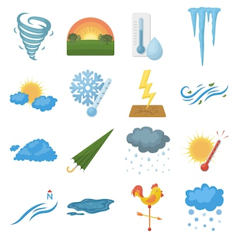 Weather cartoon set icon