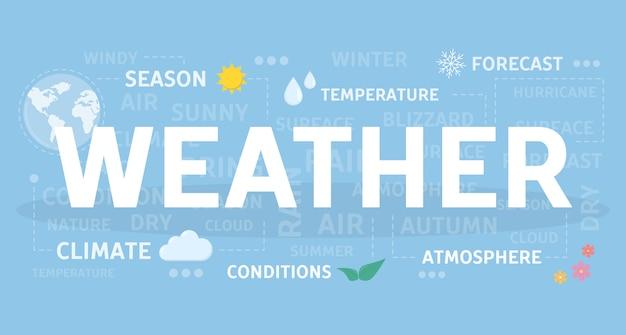 天気の概念図。季節と気候のアイデア。