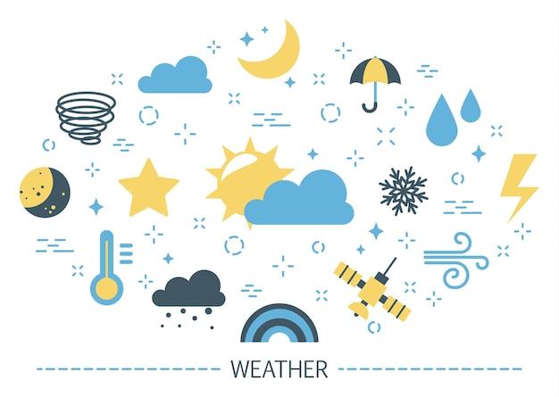 날씨 개념. 맑고 비가 오는 기후. 구름