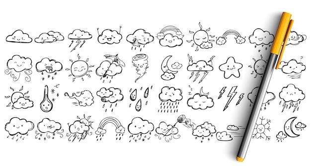 Набор каракули погодных условий. коллекция пером, чернилами, карандашом, рисованием эскизов облаков с выражениями лица, солнце, снегопад, дождь или гром, молния
