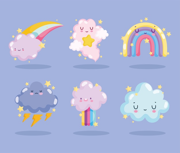 Weather cute rainbows clouds storm thunder stars sky icons