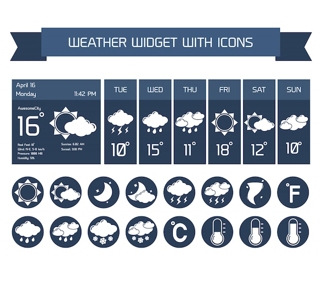 Weather detailed forecast computer and mobile business widgets with vertical dark icons collection on white isolated vector illustration