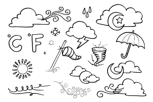 Погода каракули вектор набор иллюстраций с рукой рисовать вектор стиль линии искусства, звезды, солнце