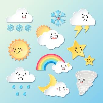 天気要素クリップアートベクトルセット、3dデザイン
