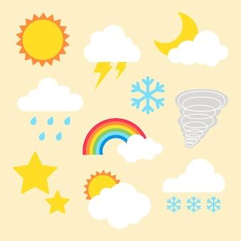 天気要素クリップアートベクトルセット、フラットなデザイン