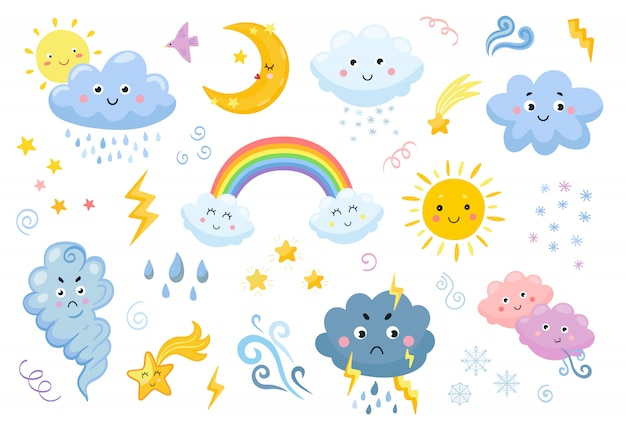 Weather emoticon flat icon set