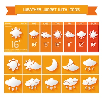 天気予報コンピュータとアイコン付きモバイル垂直ウィジェットオレンジ色のベクトル図でビジネスコレクション