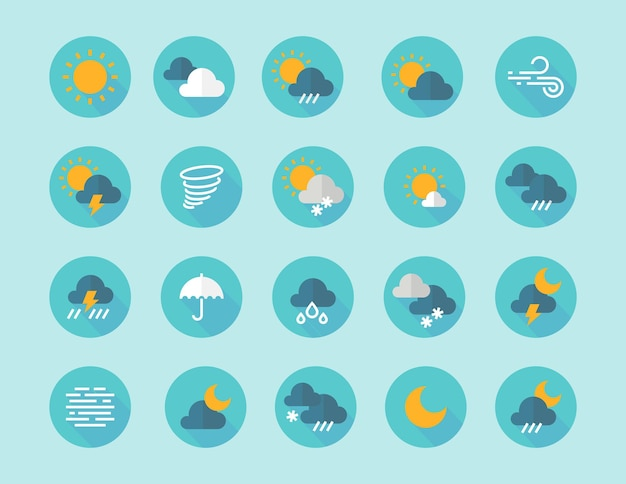 Weather flat icons. interface infographic elements with sun clouds rain fog wind symbols. vector flat icon set in blue color with silhouette freeze lightning hail wind