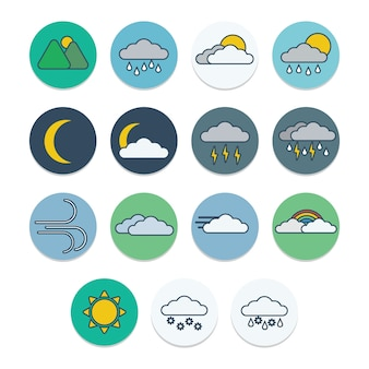 Weather flat icons with outline