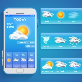 Weather forecast app on smartphone